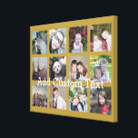 "12 Photo Collage with Gold Background Canvas Print<br><div class=""desc"">Add your favorite pics to this fun template. You can use Instagram photos or any photos for this grid.</div>"