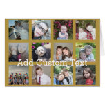12 Photo Collage with Gold Background Card