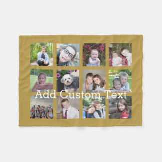 12 Photo Collage with Gold Background Fleece Blanket