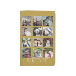 12 Photo Collage with Gold Background Journal