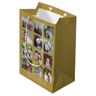 12 Photo Collage with Gold Background Medium Gift Bag