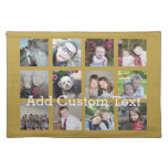 12 Photo Collage with Gold Background Cloth Placemat