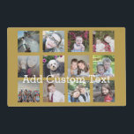 "12 Photo Collage with Gold Background Placemat<br><div class=""desc"">Add your favorite pics to this fun template. You can use Instagram photos or any photos for this grid.</div>"