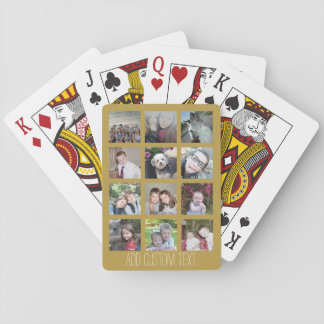 12 Photo Collage with Gold Background Playing Cards