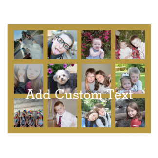 12 Photo Collage with Gold Background Postcard
