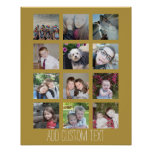 12 Photo Collage with Gold Background Poster
