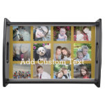 12 Photo Collage with Gold Background Serving Tray