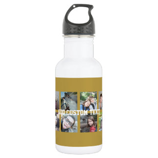12 Photo Collage with Gold Background Stainless Steel Water Bottle
