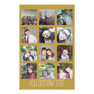 12 Photo Collage with Gold Background Customized Stationery