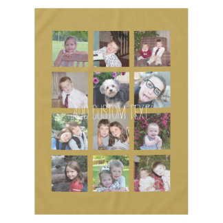 12 Photo Collage with Gold Background Tablecloth