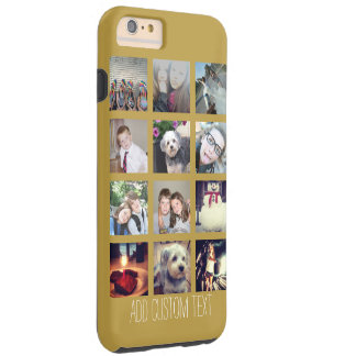 12 Photo Collage with Gold Background Tough iPhone 6 Plus Case