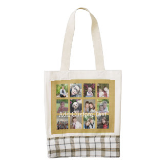 12 Photo Collage with Gold Background Zazzle HEART Tote Bag