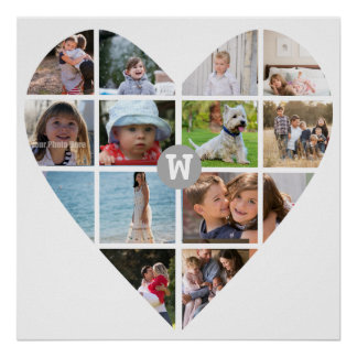 12 Photo Heart Collage Family Monogram Poster