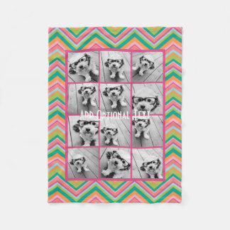 12 Photo Instagram Collage - Pink Chevron Pattern Fleece Blanket