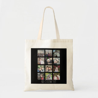 12 Photo Instagram Collage with Black Background Canvas Bags