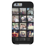 12 Photo Instagram Collage with Black Background Tough iPhone 6 Case