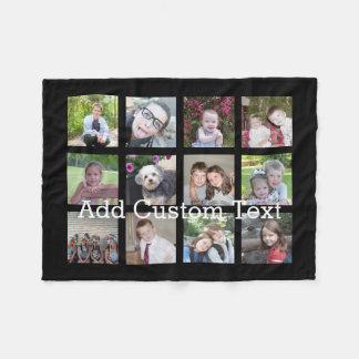 12 Photo Instagram Collage with Black Background Fleece Blanket