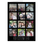 12 Photo Instagram Collage with Black Background Greeting Card
