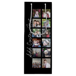 12 Photo Instagram Collage with Black Background Wine Gift Bag