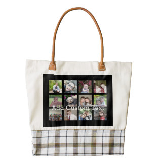 12 Photo Instagram Collage with Black Background Zazzle HEART Tote Bag