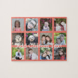 "12 Photo Instagram Collage with Coral Background Jigsaw Puzzle<br><div class=""desc"">Add your favorite pics to this fun template. You can use Instagram photos or any photos for this grid.</div>"