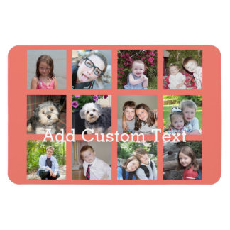 12 Photo Instagram Collage with Coral Background Magnet