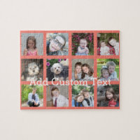 12 Photo Instagram Collage with Coral Background Puzzle