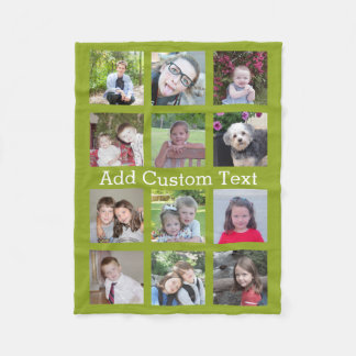 12 Photo Instagram Collage with Green Background Fleece Blanket