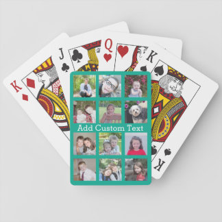 12 Photo Instagram Collage with Green Background Poker Cards