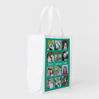 12 Photo Instagram Collage with Green Background Reusable Grocery Bags