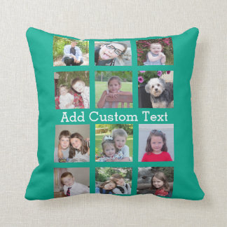 12 Photo Instagram Collage with Green Background Throw Pillow
