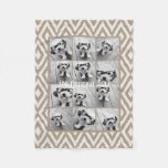 12 Photo Instagram Collage With Khaki Ikat Pattern Fleece Blanket at Zazzle