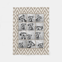 12 Photo Instagram Collage with Khaki Ikat Pattern Fleece Blanket