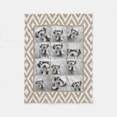 12 Photo Instagram Collage With Khaki Ikat Pattern Fleece Blanket at Zazzle