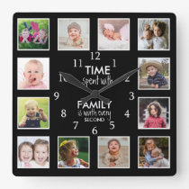 12 Photo Template Time With Family Quote Black Square Wall Clock