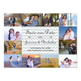 12 Photos Collage Gray Chevron - 6x8 Save the Date Card