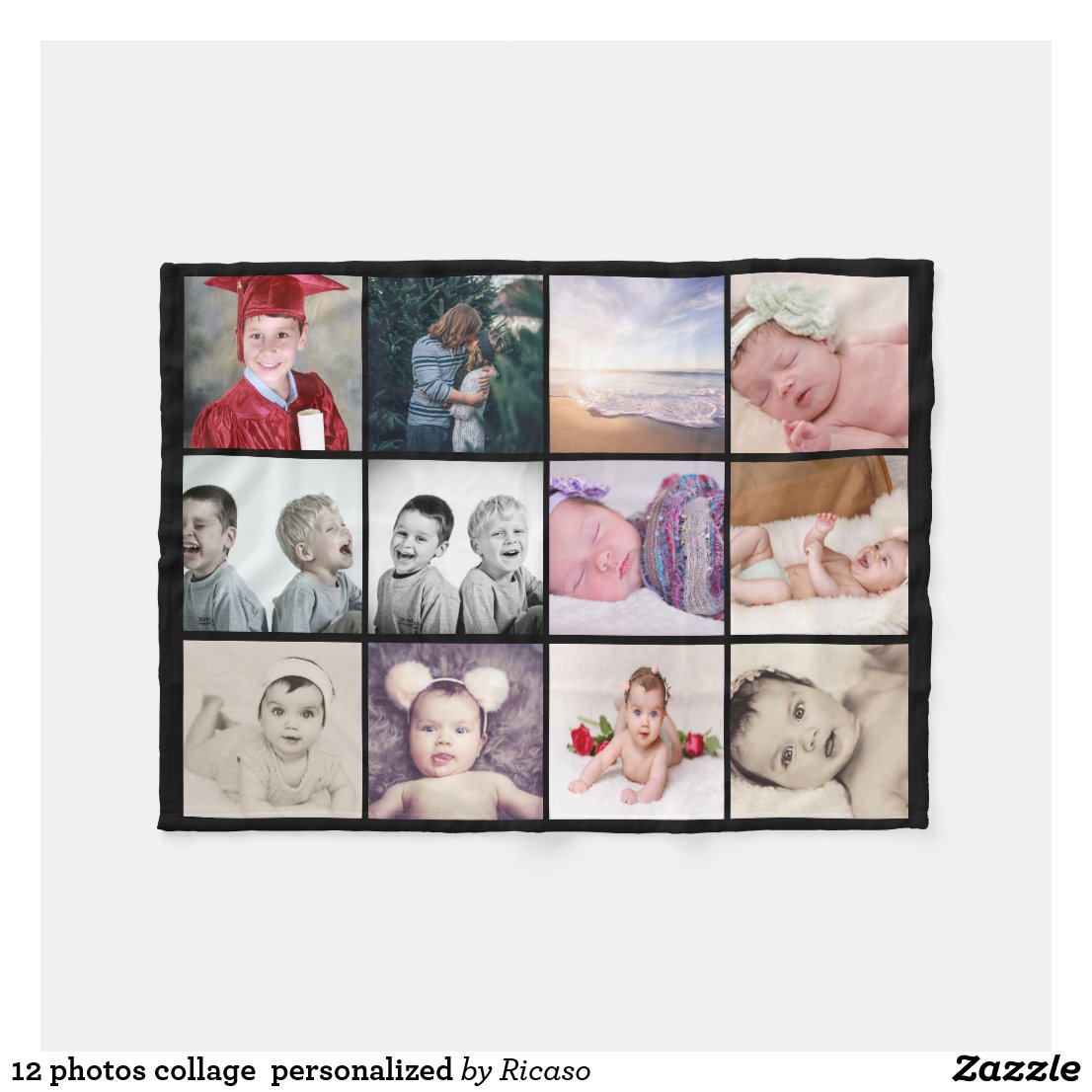 12 photos collage make your own personalized fleece blanket