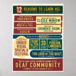 12 razones para aprender el ASL. cartel Impresiones