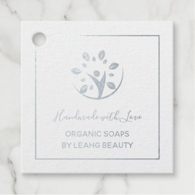 12 REAL FOIL Handmade With Love Crafts Beauty Food Foil Favor Tags