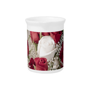 12 red 1 white valentine rosebuds collection drink pitcher