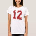 12 Red Custom Jersey T-Shirt