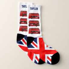 12 Red London Buses Socks
