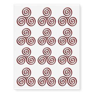 12 Red Metalic Triple Spiral - Temp Tattoo