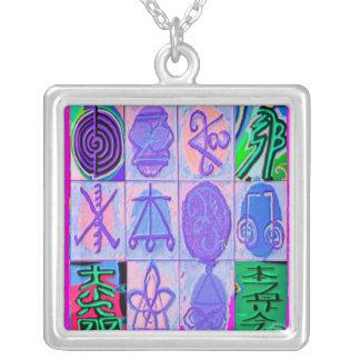 12 Reiki Karuna Symbols Square Pendant Necklace