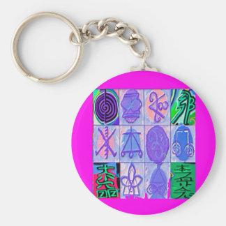 12 Reiki n Karuna Reiki Signs - Pink Border Keychain
