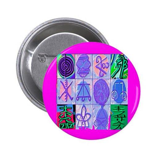 12 Reiki n Karuna Reiki Signs - Pink Border Pin