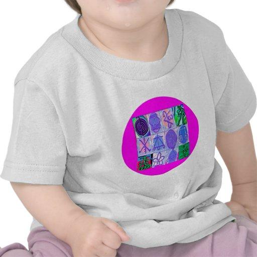 12 Reiki n Karuna Reiki Signs - Pink Border T-shirts