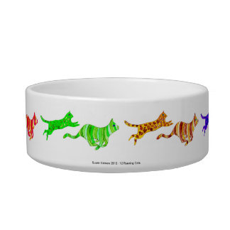 12 Running Cats Pet Bowl Cat Food Bowls