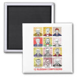 12 Russian Composers 2 Inch Square Magnet