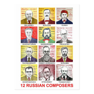 12 Russian Composers Postcard